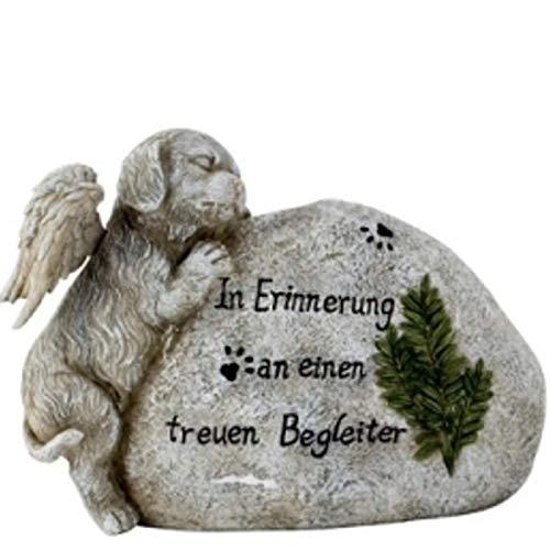 Trauer-Shop Hunde Gedenkstein mit Figur und Inschrift Begleiter, Tiergrab. 21 cm.