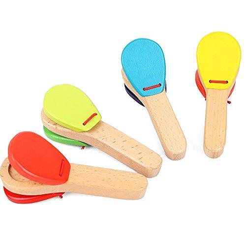 ouken Holz Kastagnetten Griff Musikinstrument Castanet Spieluhr zufällige Farbe 1Pc Griff