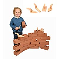 Foam Building Bricks Set of 50 | Real Size Blocks Bricks and Wooden Tools for Toddler Construction Play |