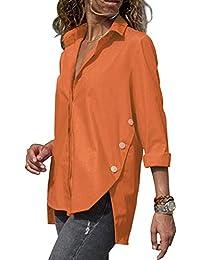 ce92928bb89c8 OranDesigne Camisa para Mujer Blusa de Manga Larga Botones Camisetas  Camiseta de Cuello Alto de Solapa