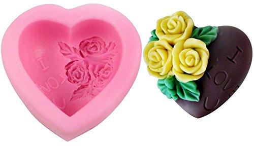 Inception pro infinite sa032 - stampo in silicone per uso alimentare di un cuore di rose e la scritta i love u (ti amo) - pasta di zucchero - fondenti - torte - pancake - muffin - decorazioni