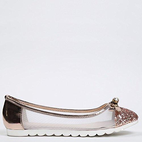 Ideal Shoes-Ballerine con effetto rete, parte 1, e suola in gomma Maelise Rose