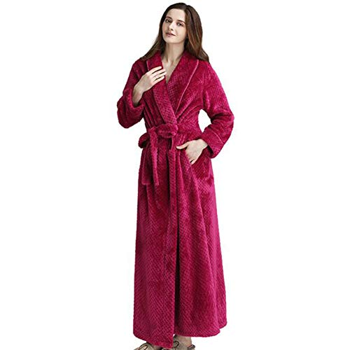 JZWX Herbst und Winter Damen Paar Taille Coral Fleece Lange Bademäntel Flanell Pyjamas Robe, Weiß,Rose,L - Rose Flanell-pyjama