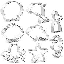 KAISHANE Sea Cookie Cutters Juego de 8 Formas Marinas temáticas Cola de Sirena, delfín,