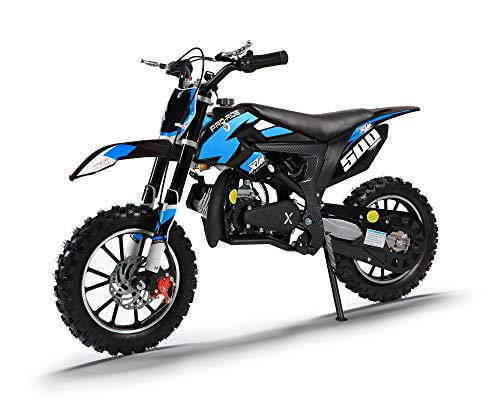 Xtreme Toys Xtm Pro Rider 50cc Two Stroke Dirt Bike Upgraded 15mm Carb Easy Pull Start Race Clutch Colour Coded Styling Blue