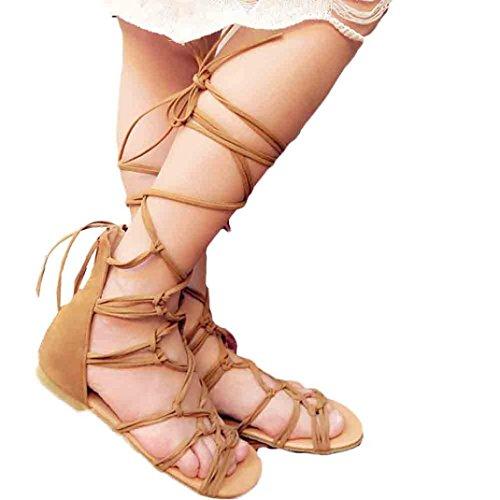 Hunpta Hohe Stiefel Sandalen Frauen böhmischen Sommer Casual Schuhe Braun