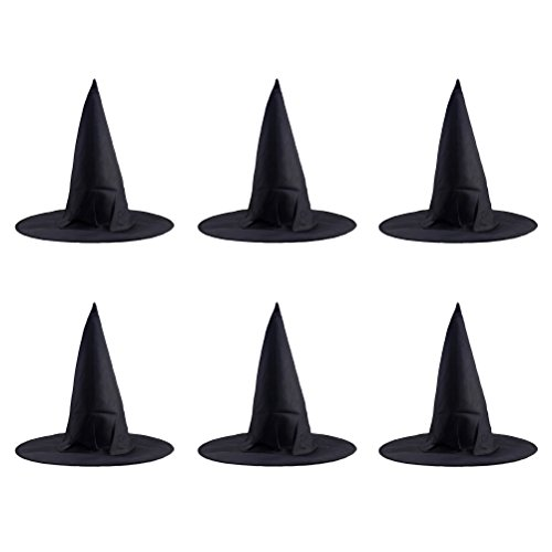 BESTOYARD 6 Stück Halloween Kirchturm Hexe Hut Classic Black Magic Cap Party Requisiten Zubehör