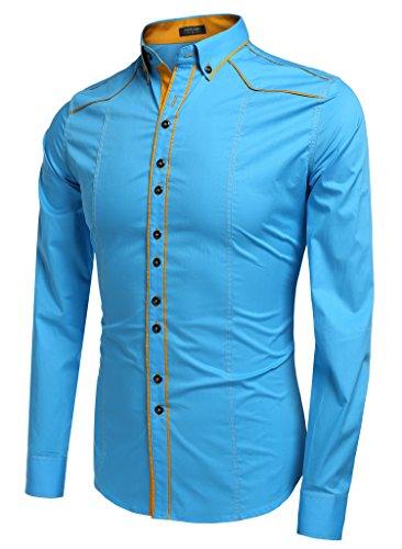 Aulei herren Hemd slim fit kontrastfarbene Linien cooler Stil Bügelleicht Himmel Blau
