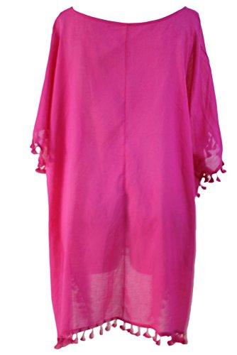 COSIVIA Damen Quaste Batwing Hülse Bikinis Badeanzug Cover Ups Oversize Rosa