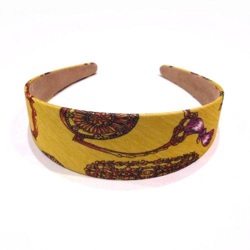 rougecaramel - accessoires cheveux - Serre tête/headband large imprimé - jaune