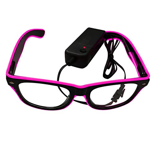 fazry Leuchtende Brille El LED Club Party EyegGlasses Bright Flashing Brill Battery Box Gr. Einheitsgröße, rose