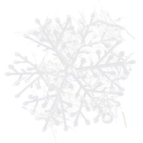 18pcs Décorations de Noël Flocons de Neige arbre de Noël Ornements Suspendus - Blanc (18CM)
