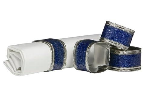 Premier Housewares Square Glitter Napkin Rings - Set of 4, Sapphire Blue