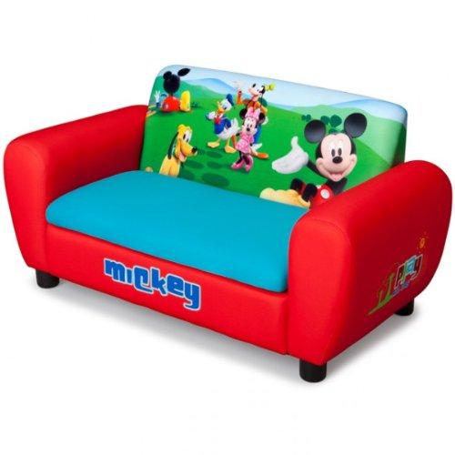 Disney Mickey Mouse 2er Sofa gepolstert rot aufklappbar Sessel Couch Kindersofa NEU