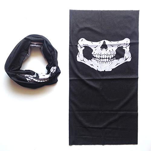 2 pcs bufandas para cara cuello diseño de calavera color negro