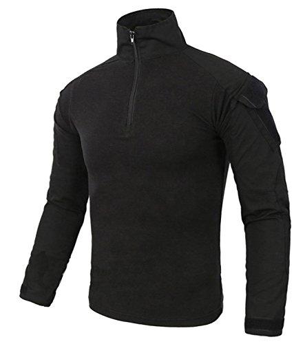 KEFITEVD Sportshirt Langarm Herren Funktionsshirt Army Camouflage Shirt Abriebfest Jagd Radfahren Schwarz L (Etikett 2XL) - Armee Militär T-shirt