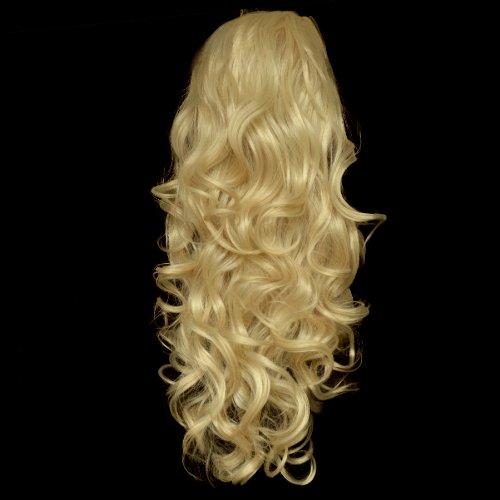 "22"" Ladies 3/4 WIG Half Fall CURLY Golden Blonde #26"