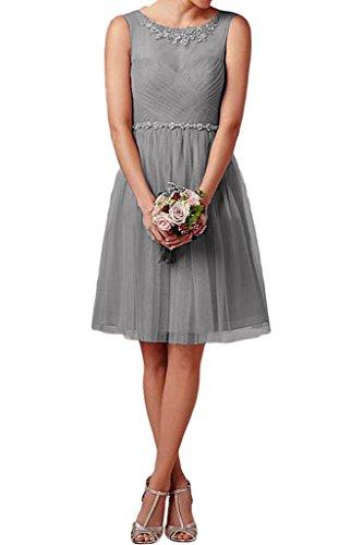ivyd ressing Damen Zaertlich a linea di pietre Tulle Abito da Ballo Prom abito Fest vestito abito da sera Argento