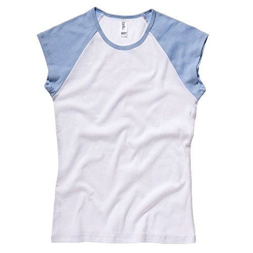 Bella+Canvas Baby rib cap sleeve contrast raglan t-shirt White / Baby Blue S (Cap College Womens T-shirt Sleeve)