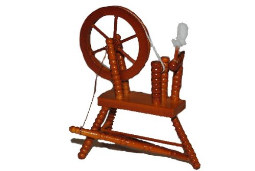 Miniatur - Spinnrad zum Spinnen - Wolle Handwerk Schaf Schafwolle Spindel Dornröschen - Puppenstube - Maßstab 1:12
