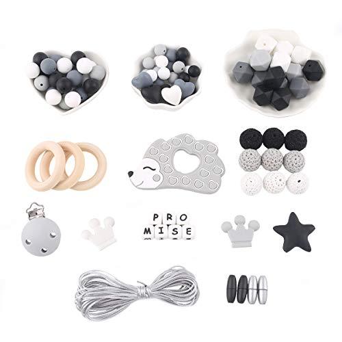 Promise Babe DIY Cuentas de Dentición Kit Set Cuentas Octogonales Anillo de Madera Erizo de Silicona Bebé Mordedor Masticar Joyería Clip de Chupete Collar Pulsera Juguete Montessori