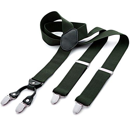 DonDon® Herren Hosenträger breit 3,5 cm – 4 Clips mit Leder in Y-Form – elastisch und längenverstellbar grün