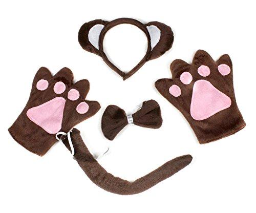 Niedliches Froschkostüm für Kindergeburtstag, Stirnband, Schleife, Schwanz, Handschuhe, Grün, 4-teiliges Set Gr. One size, braun (Niedliche Affe Kostüm)