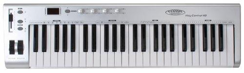 Classic Cantabile MK-49 USB Midi-Keyboard mit 49 Tasten (4 programmierbare Drehregler, 1 programmierbarer Slider, 5-stufig einstellbare Anschlagdynamik, Anschluss für Sustain-Pedal, inkl. USB-Kabel) Pedal-anschluss
