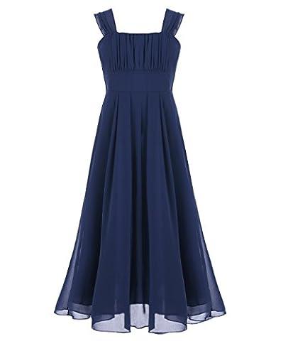 Freebily Mädchen Kleid festlich Chiffon Prinzessin Hochzeit Freizeitkleid Party Kleid Sommerkleid 104 116 128 140 152 164 Marineblau