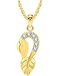 VK Jewels Leaf Gold And Rhodium Plated Alloy CZ American Diamond Pendant With Chain For Women [VKP2579G]