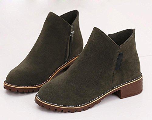 Frau Stiefel flach mit niedrigen Absätzen Schuhe Freizeit kurze Stiefel Frau Aufzug Schuhe Herbst army green