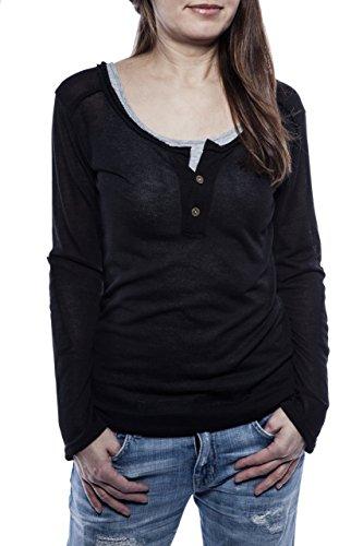 Ella Manue Frauen Longsleeve Serafino Shirt Lina Schwarz