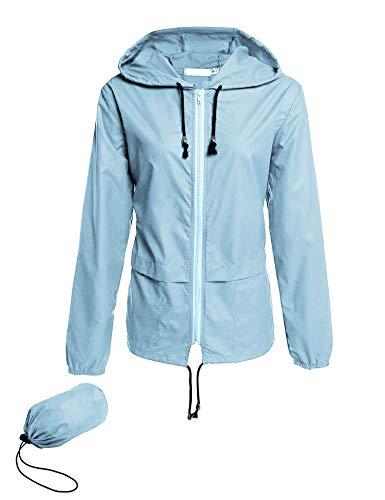 iWoo Regenjacke Damen Schwarz Sport Outdoor Jacke Sommer Softshell Sommermantel Wasserdicht Schnell Trocknend Jacke Leicht (Hellblau, M)