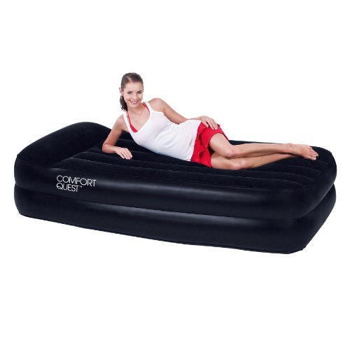 New Bestway Single Size Premium Flocked Inflatable Comfort Quest Air Bed With Built-in Pillow Built-In Electric Pump 220/240V Travel Bag Heavy Duty