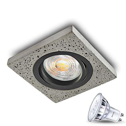 JVS–Empotrable (Foco LED Foco plafón hormigón Point 5W LED blanco cálido (Casquillo...