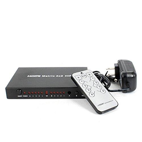 Tolako 4x2 HDMI Matrix 4 In 2 Out Audio Hifi Umschalter Switcher Splitter Full HD 1080P mit Fernbedienung