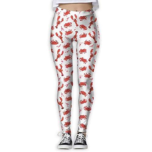 QIAOJIE-High Waist Ultra Soft Lightweight Leggings, Women's Skinny Pants for Yoga Crawfish Printed Workout Capris Leggings -
