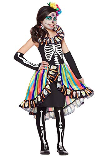 (Forever Young Girls Kids Tag der Toten Kostüm Sugar Skull Kids Skeleton Halloween Kostüm Scary 10-12 Jahre)