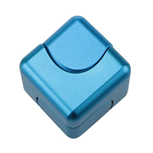 Fingertips Gyro Toys Tri Fidget Cube Hand Spinner Triangle Metal Finger Focus Toy ADHD Autism Spinning Toys Lanspo (Blue)