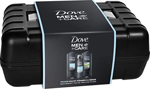 Dove MEN+CARE mit Werkzeugkiste Duschgel Clean Comfort 250 ml und Fresh Elements Pflegedusche 250 ml, Deospray 150 ml, 3er Geschenkpack, (606 g)