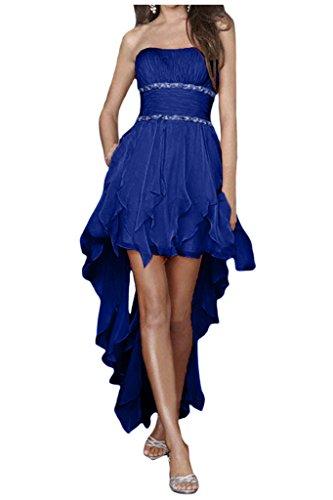 Gorgeous Bride Zaertlich Traegerlos Hi-Lo Chiffon Kristall Cocktailkleider Ballkleider Partykleider Royalblau