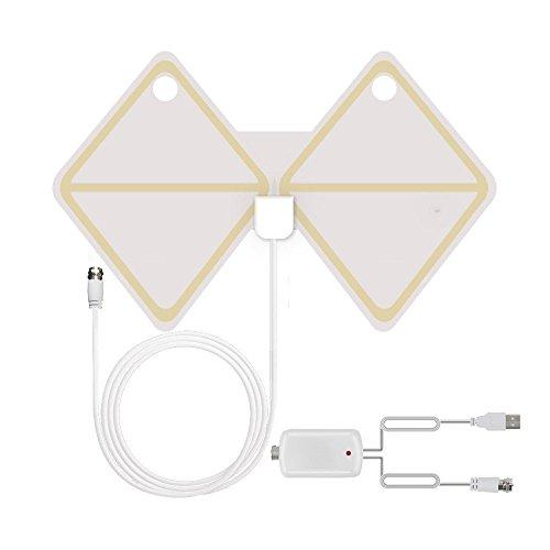 TV Antenne, 50 Miles 1080P transparent Digital-TV Antenne, HDTV Antenne Innen mit abnehmbarer Verstärker Blinker Booster … (Kristall weiß - Schmetterling)