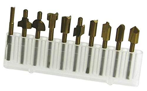 NRG Clever® SF10-3 Set von 10 High-Speed-Titan plattiert Stahlschneider für Holz. Geeignet für CNC-Fräsen und Fräsmaschinen mit 3.175mm Kupplung. Ausgezeichnet für den Hobbygebrauch