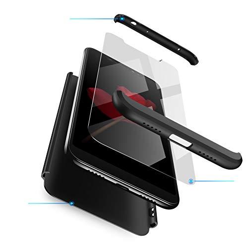 Funda XiaoMi Mi 8 Carcasa XiaoMi Mi 8 con [ Protector de Pantalla de Vidrio Templado ] 3 en 1 Desmontable XiaoMi Mi 8 Funda Protectora - pulgada 360 ° complete package protection - Negro