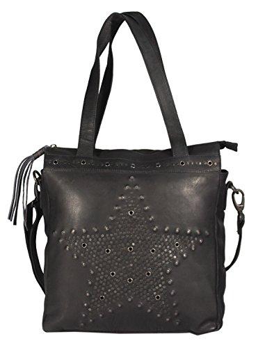 SantCona - Shopper Schultertasche Leder mit Stern Star Motiv aus Nieten Studed Vintage URBAN BAG Damen Handtaschen 31x34x10 cm (B x H x T), Farbe:schwarz (Nubuk-star)