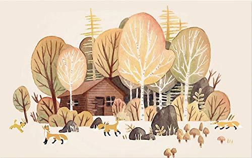 Tapete Wandaufkleber Orange Kleiner Fuchs Wald Baum Hütte Kinderzimmer Tv Hintergrund Wand Dekoratives Bild 400x280cm