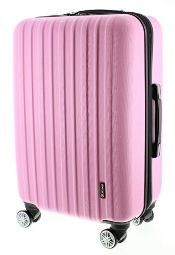 100% ABS Reisegepäck Koffer / Trolley, Handgepäck Grösse XL (75cm), Serie Zosed, mit TSA schloss 8 Rädern und stop funktion (Pink) (Mit Erweiterbar 17)