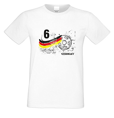 Herren T-Shirt Trikot ::: Fußball Nr. 6 Germany Geschenk für Fußballfans Farbe: weiss Weiß