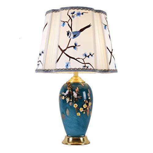 Lampes de table Chambre Salon Etude Mode Américain Simple Émail Décoration Chaude Cuivre en Céramique Lampe De Chevet (Color : Blue, Size : 40 * 70cm)