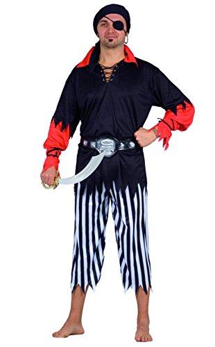 FIORI PAOLO 62074Black-Pirata Disfraz Adulto, Negro, talla 52-54